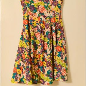 Cooperative Dress M Neon Floral Print Strapless